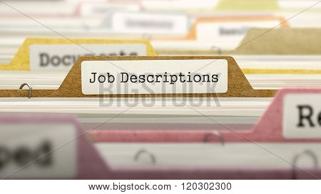File Folder Labeled as Job Descriptions.
