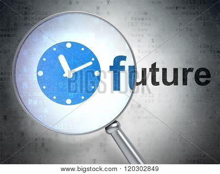 Time concept: Clock and Future with optical glass