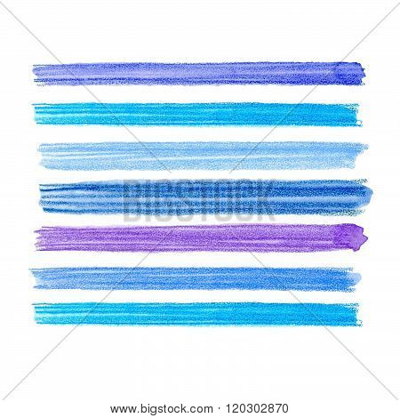 Watercolor brush strokes collection. Colorful watecolor pencil brushstrokes. Blue, indigo and lilac