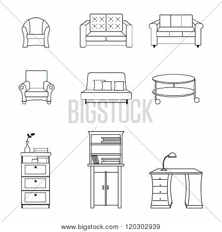 Vector illustration of black line furnitures for interiors, living rooms