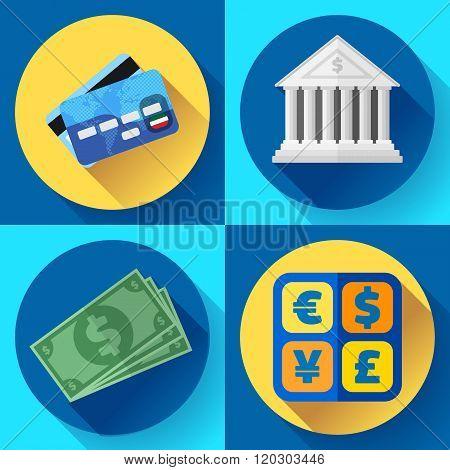 Money and bank icon set. Flat designed style