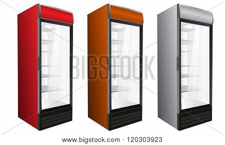 Commercial refrigerator for drinks and perishables. Vector illustration.