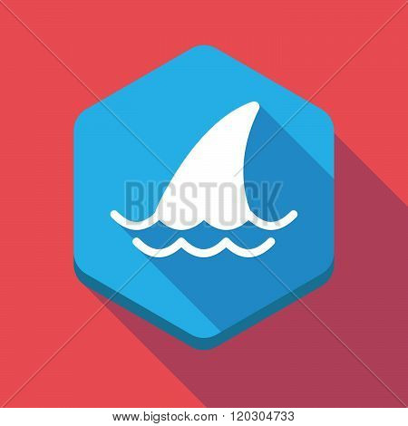 Long Shadow Hexagon Icon With A Shark Fin