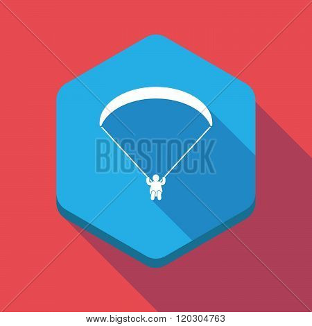 Long Shadow Hexagon Icon With A Paraglider
