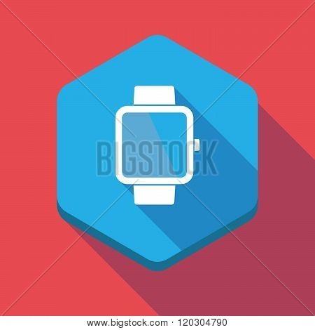Long Shadow Hexagon Icon With A Game Pad