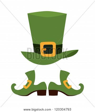 Green leprechaun hat vector illustration.