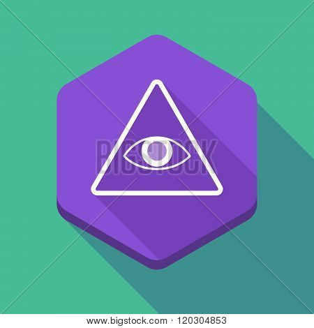 Long Shadow Hexagon Icon With An All Seeing Eye