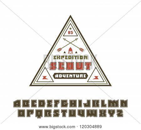 Square Sanserif Font With Contour And Scout Emblem