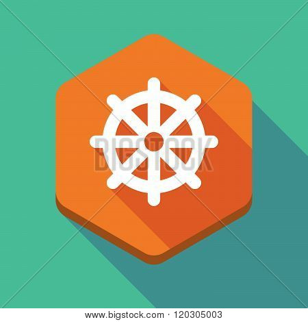 Long Shadow Hexagon Icon With A Dharma Chakra Sign