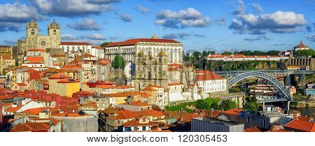 Panoramic View Over The Old Town Of Porto, Portugal
