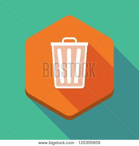 Long Shadow Hexagon Icon With A Trash Can