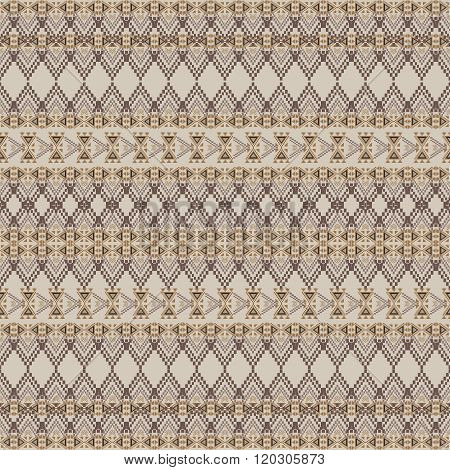 Vector Seamless Texture. Tribal Geometric Striped Pattern. Aztec Ornamental Style