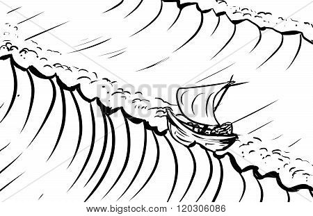 Outlined Ship And Tidal Waves