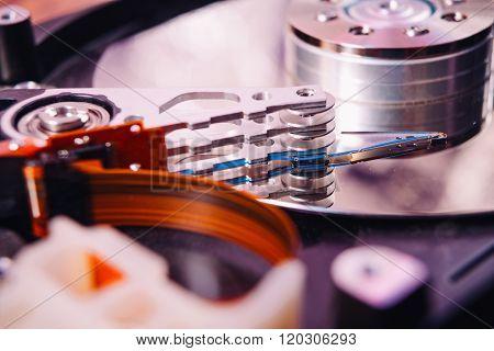 Internal Hard Disk Closeup On Wooden Background