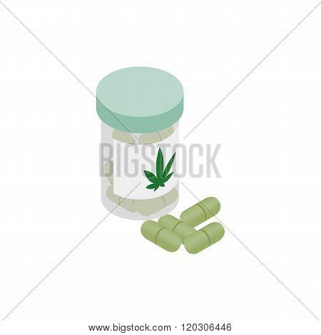 Bottle of pills medical marijuana icon