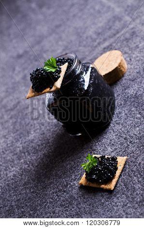Black Caviar On A Cracker