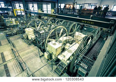 san francisco, usa: equipment in Cable Car Museum in San Francisco Cable Car Museum in Nov,16,2015