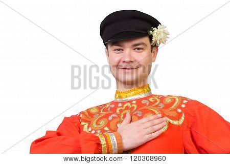 Attractive Russian Guy  In Folk Costume