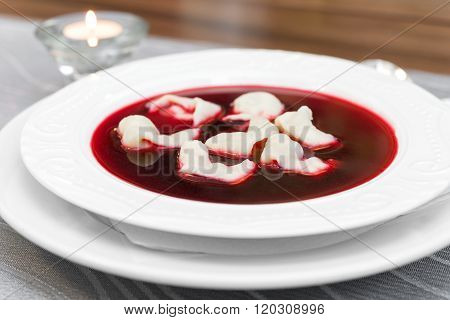 Traditional Polish Beetroot Soup With Dumplings (red Borsch)