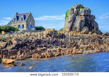 Traditional Breton Stone House And The Rock, Brittany, France