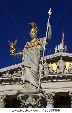 Vienna, Austria - April 26, 2013: Statue Of Pallas Athena, Goddess Of Wisdom, Standing In Front Of T