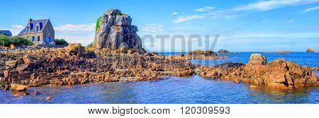 Panoramic View Of The Atlantic Coast Of English Channel, Brittany, France
