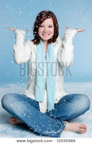 Woman in Falling Snow