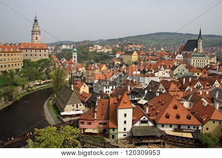Cesky Krumlov, Czech Republic - May 01, 2013: View To Historic Castle Of Cesky Krumlov And Town In C