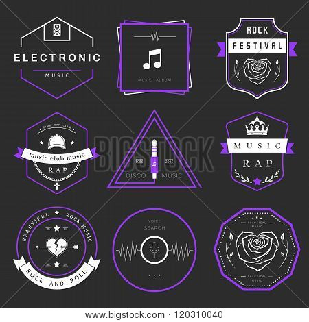 Vector badges rock music rap classical and electronic music. Vector logos festivals and concerts elements of web design and voice search prints for T-shirts.