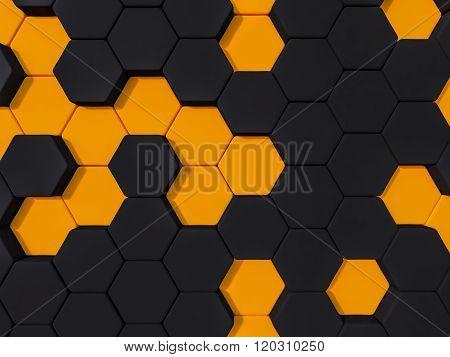 Honeyomb Black Orange  Abstract 3D Hexagon Background