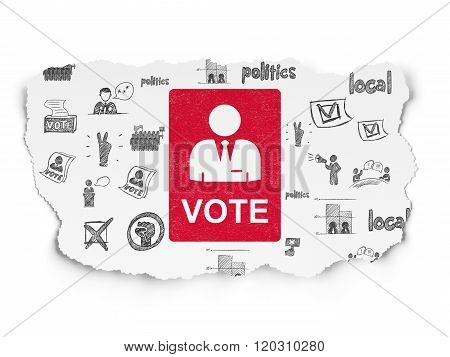 Political concept: Ballot on Torn Paper background
