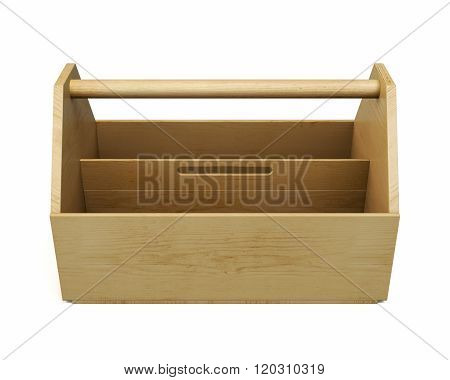 Empty wooden Toolbox. 3d image on white background