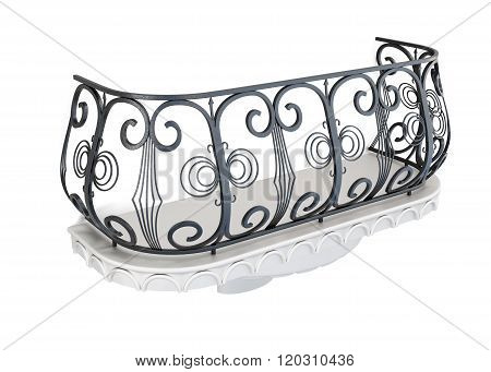 Decorative balcony on a white background. 3d rendering