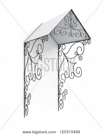 Metal canopy with wrought-iron elements. 3d illustration