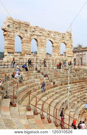 Verona, Italy - September 3, 2012: The Verona Arena (arena Di Verona) Is A Roman Amphitheatre On Pia