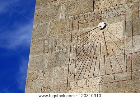Barcelona, Spain - December 14, 2011: Sundial On A Wall In Castle Of Montjuic In Barcelona, Spain