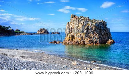 White Stone Beach On Pink Granite Coast, Brittany, France