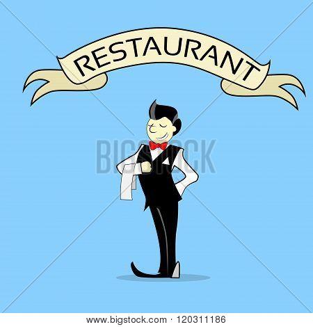 Waiter With Napkin Text Banner Restaurant