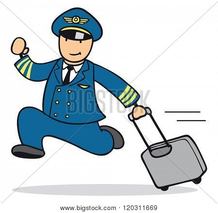 Cartoon man as pilot running with a suitcase