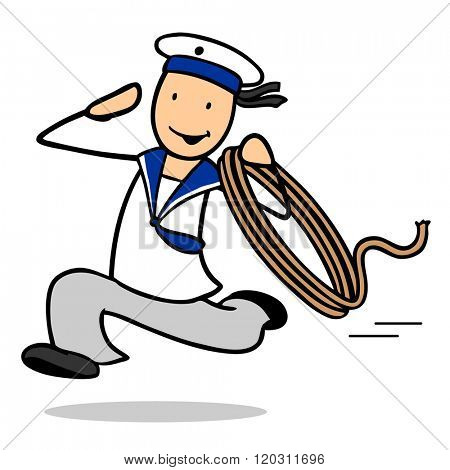 Fast cartoon sailor man running with a rope