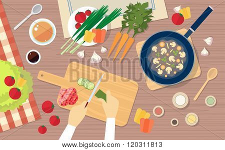 Hand Chopping Vegetables, Cooking Table Kitchen Healthy Food Top Angle View