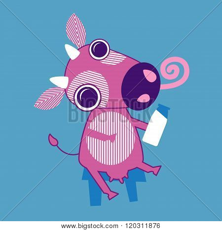 Cartoon Cow Sit Holding Bottle With Milk