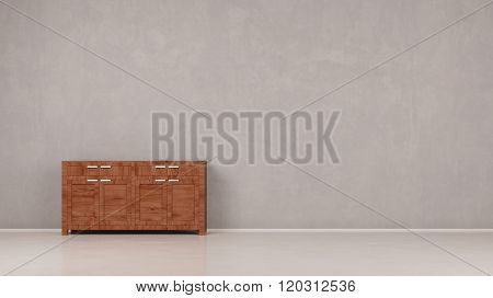 Cabinet dresser standing next to a wall in a room (3D Rendering)