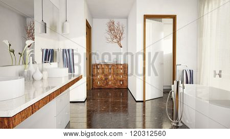 Modern elegant bathroom with marble tiles and bathtub (3D Rendering)