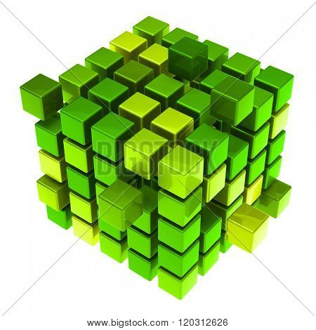 Many hovering 3D cubes as sustainability concept (3D Rendering)