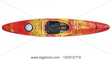 top view of crossover kayak (whitewater and river running kayak) isolated with a clipping path