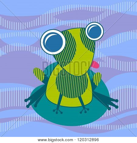 Cartoon Colorful Frog Sit On Water Lily Leaf