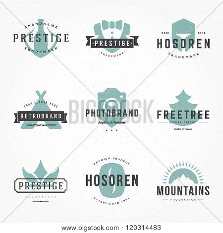 Retro Hand Drawn Logos Vector Templates Set. Hand Drawing Logos, Hand Drawn Icons, Hand Drawn Symbol