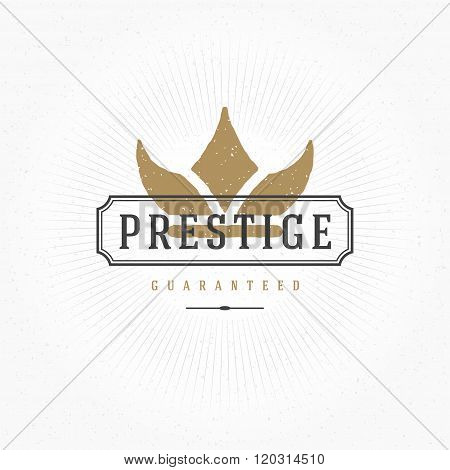 King Crown Hand Drawn Logo Template. Vector Design Element Vintage Style for Logotype