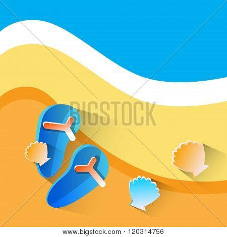 Flip Flops On Beach With Sea Shell Summer Vacation